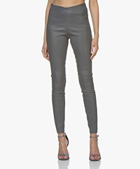 By Malene Birger Elenasoo Leather Leggings - Stone Grey