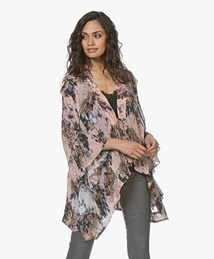 IRO Ideal Viscose Chiffon Print Blouse met Volants - Nude