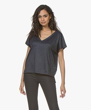 Drykorn Svana V-hals T-shirt met Lurex - Donkerblauw