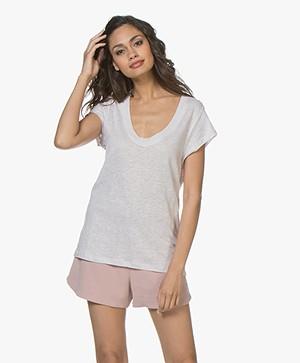 IRO Palmy Linnen U-hals T-shirt - Blush Pink
