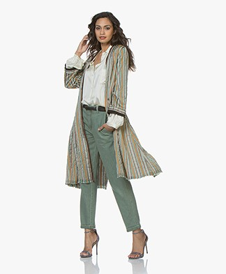 forte_forte Striped Lurex Blazer Coat - Peacock Multi