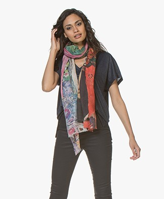LaSalle Cotton-modal Blend Scarf with Print - Women