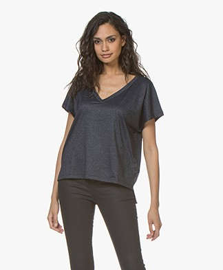 Drykorn Svana V-neck T-shirt with Lurex - Dark Blue