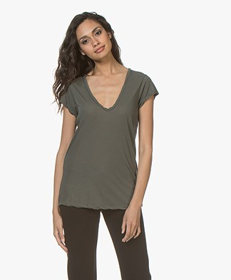 James Perse V-neck T-shirt in Extra Fine Jersey - Artillery Green