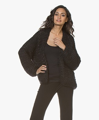 Kiro By Kim Chunky Knit Mohair Blend Cardigan - Black/Navy