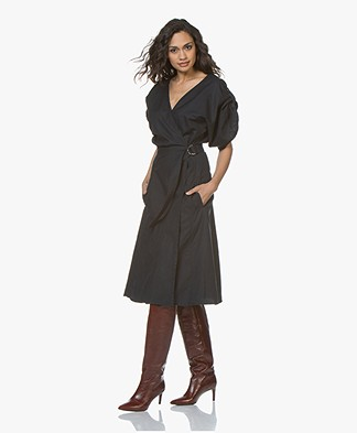 Vanessa Bruno Iron Wrap Dress in Katoen Blend - Marine