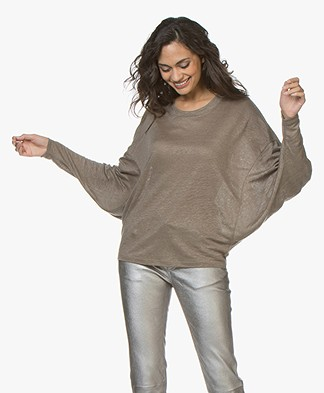 IRO Cheery Oversized Linen Long Sleeve - Smoke Grey