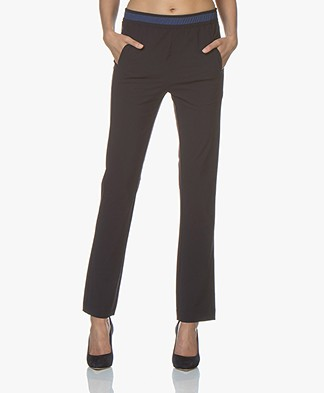 no man's land Travel Jersey Pants with Two-tone Waistband - Dark Blue