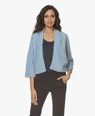 no man's land Short Open Cardigan in Mohair and Wool - Sky