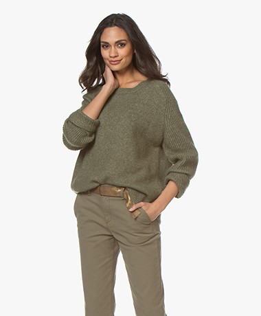 By Malene Birger Ana Ribbed Sleeve Alpaca Blend Sweater - Winter Moss