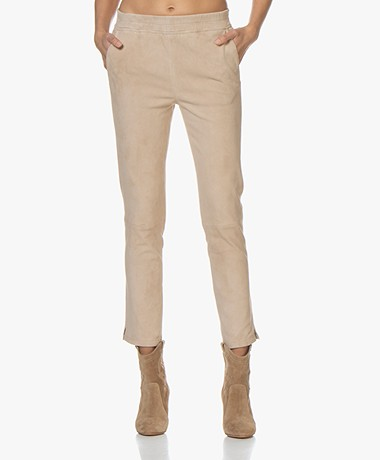 Repeat Luxury Slim-fit Suede Pants - Nougat