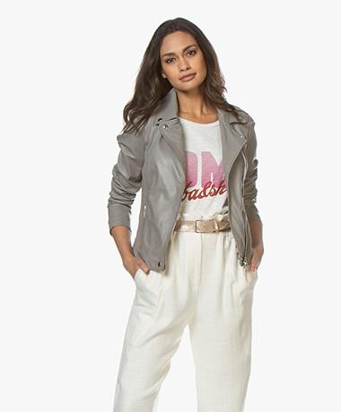 Repeat Luxury Leather Biker Jacket - Drizzle