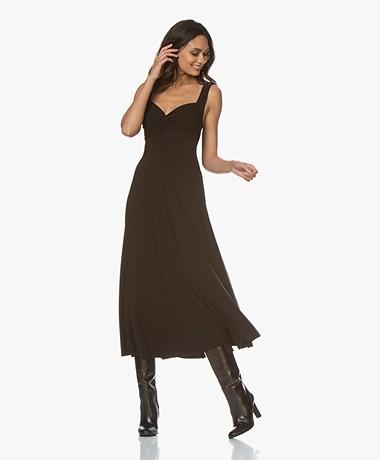 Norma Kamali Flared Twist Tech Jersey Midi Dress - Black
