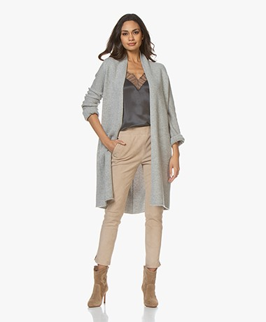 Repeat Luxury Pure Cashmere Cardigan - Silver Grey