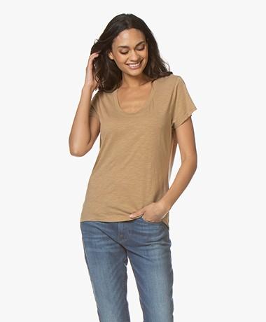 American Vintage Jacksonville Ronde Hals T-shirt - Camello