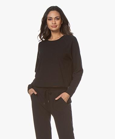 James Perse Jersey Raglan Lounge Sweatshirt - Black