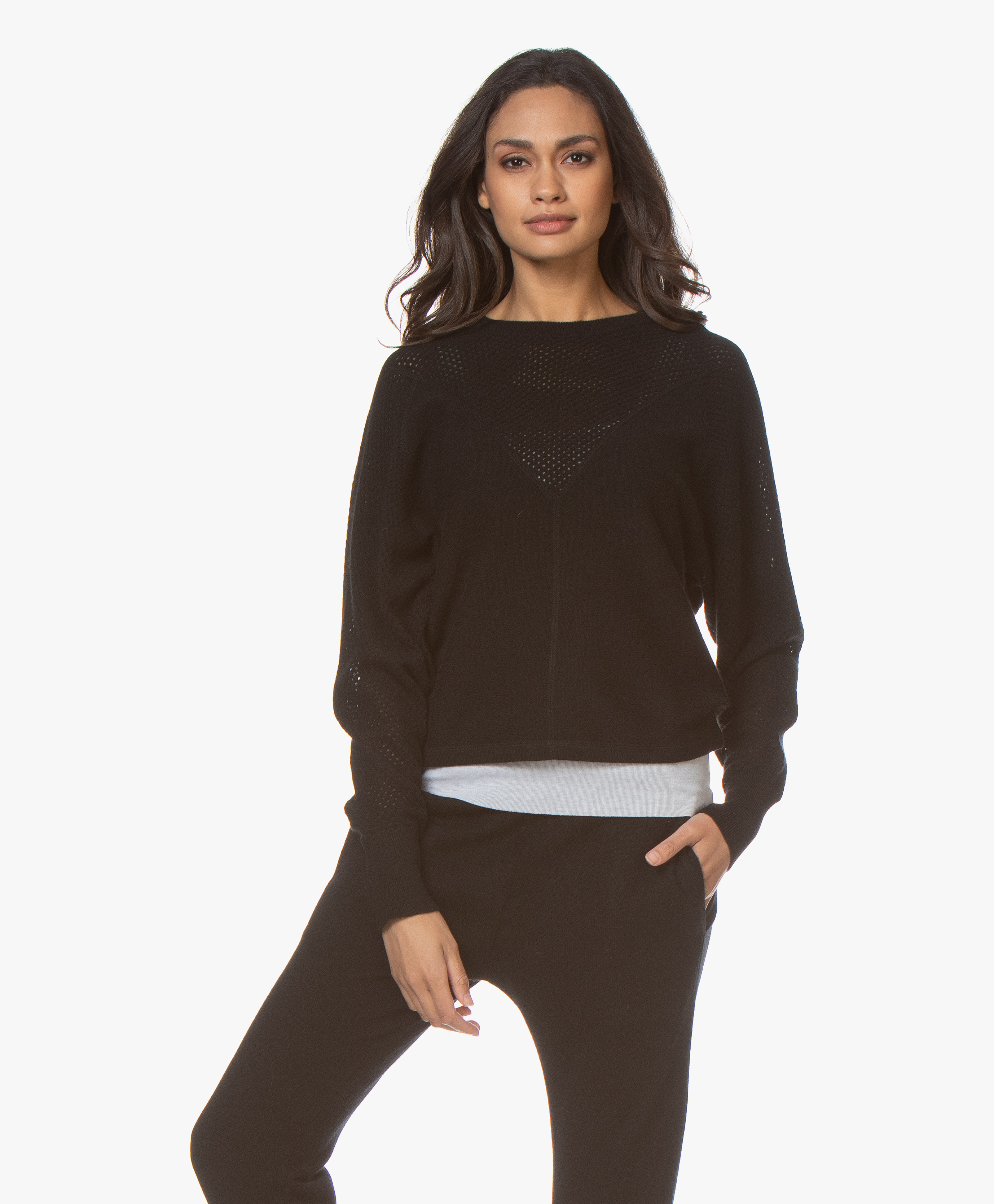Filippa K Soft Sport Mesh Cashmere Sweater Black 26683 1433