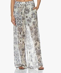 IRO Zallie Loose-fit Printed Chiffon Pants - Off-white