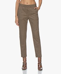 no man's land Jersey Geruite Pantalon - Sandelwood