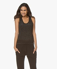 Rag & Bone Rower Lurex Herringbone Tank Top - Black