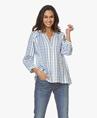 ba&sh East Checked Cotton Blouse - Sky Blue