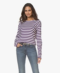 Closed Striped Modal Blend Long Sleeve - Amethyst