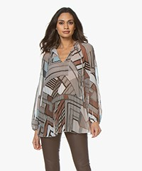 LaSalle Pleated Chiffon Tunic Blouse with Print - Safari