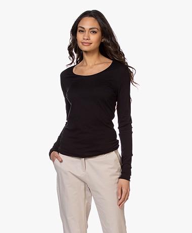 American Vintage Chipiecat Cotton Long Sleeve - Black