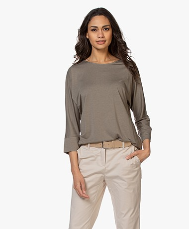 Repeat Lyocell Blend Batwing T-shirt - Khaki