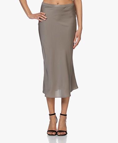Repeat Silk Bias-cut Midi Skirt - Khaki