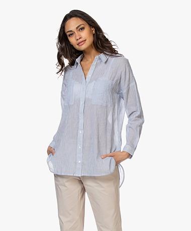 indi & cold Striped Cotton Gauze Blouse - Blue/White