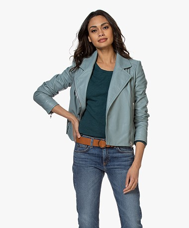 Drykorn Paisly Leather Biker Jacket - Greyish Blue