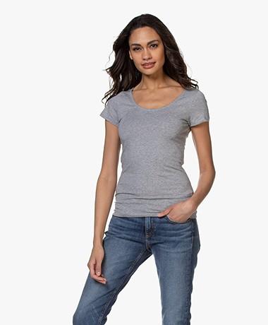 Filippa K Cotton Stretch Scoop Neck T-shirt - Grijs Mêlee