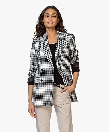 Closed Karlo Gingham Geruite Blazer - Zwart/Wit