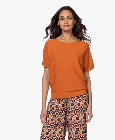 no man's land Cotton Short Sleeve Sweater - Cayenne