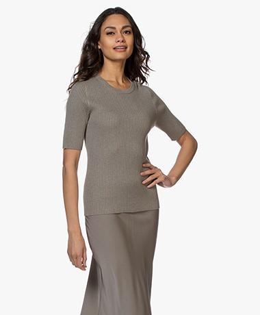 Repeat Half Sleeve Cotton Blend Rib Pullover - Khaki