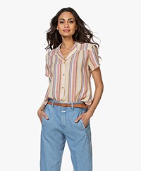indi & cold Striped Short Sleeve Blouse - Terracota
