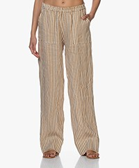 LaSalle Striped Linen Pants - Desert
