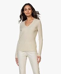 Filippa K Wendy Rib Knitted V-neck Sweater - Faded Yellow
