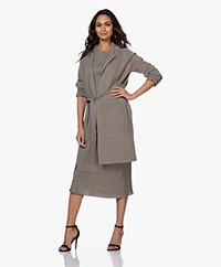 Repeat Long Cotton Blazer Cardigan - Khaki
