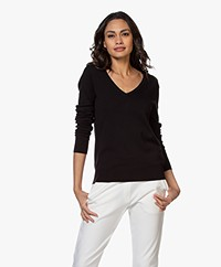 Repeat Cotton Blend V-neck Pullover - Black