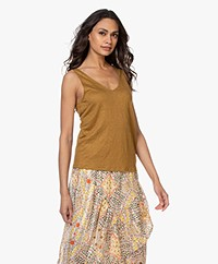 Majestic Filatures Linen V-neck Tank Top - Amber