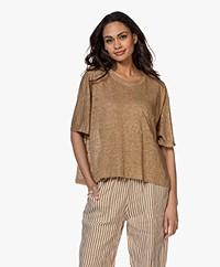 Pomandère Oversized Linen T-shirt - Hazelnut
