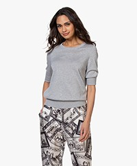 Repeat Cotton Blend Mid Sleeve Sweater - Grey