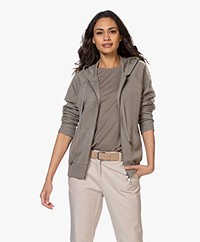 Repeat Fine Knit Hooded Cardigan - Khaki
