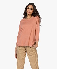 Repeat Fine Knitted Cotton Mix Sweater - Blush