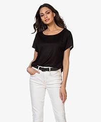 Drykorn Kimana Lyocell T-shirt - Zwart