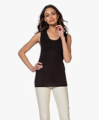 Joseph Ribbed Cotton Blend Tank Top - Black