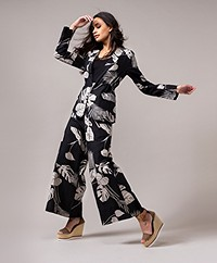 LaSalle Linen Blend Print Blazer - Black/Beige