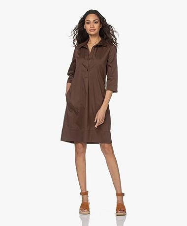 LaSalle Cotton Shirt Dress - Choco